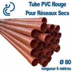 Tube PVC lisse Rouge Ø80 pour Réseaux Secs longueur 6 mètres