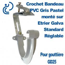 Crochet Bandeau PVC Gris Pastel Monté sur Etrier Galva Réglable Pour GD25