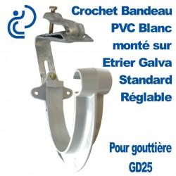 Crochet Bandeau PVC Blanc Monté sur Etrier Galva Réglable Pour GD25