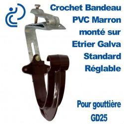 Crochet Bandeau PVC Marron GD25 Monté sur Etrier Galva Standard Réglable