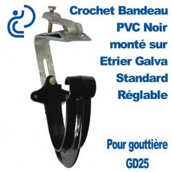 Crochet Bandeau PVC Noir GD25 Monté sur Etrier Galva Standard Réglable