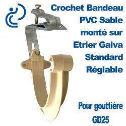 Crochet Bandeau PVC Sable Monté sur Etrier Galva Standard Réglable Pour GD25
