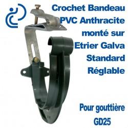 Crochet Bandeau PVC Anthracite Monté sur Etrier Galva Réglable Pour GD25