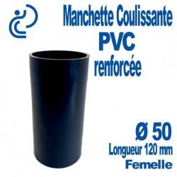Manchette Coulissante PVC Renforcée Ø50 Femelle Longueur 120 mm