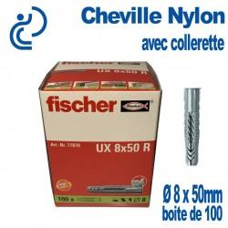 Cheville Nylon à Collerette Ø 8 x 50mm Boîte de 100 pièces