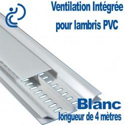 """Profile de ventilation intégré """"entre lame"""" pour lambris PVC Blanc longueur de 4ml"""