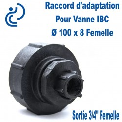 """Raccord d'adaptation Pour Vanne IBC Ø 100x8 Femelle, sortie Femelle 3/4"""""""