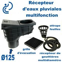 Récepteur d'Eaux Pluviales Multifonction Évacuation Ø125