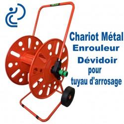 Chariot Enrouleur / Dévidoir Métal pour Tuyau d'arrosage Capacité 50m en 19mm
