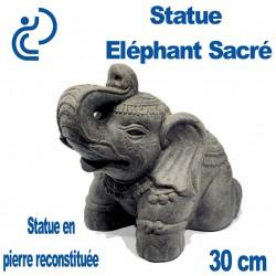Statue Ornementale Éléphant Sacré en Pierre Reconstituée 30cm