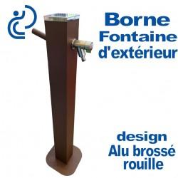 Borne Fontaine d'Extérieur Design Alu Brossé Rouille