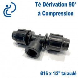 "TE Dérivation 90° à Compression D16 x 1/2"" taraudé (femelle)"