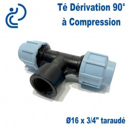 "TE Dérivation 90° à Compression D16 x 3/4"" taraudé (femelle)"