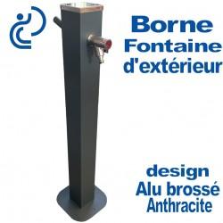 Borne Fontaine d'Extérieur Design Alu Brossé Anthracite