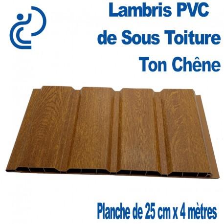 Lambris PVC de sous toiture Chène (planches de 25cmX4ml)