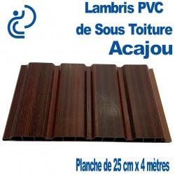 LAMBRIS PVC DE SOUS TOITURE Acajou planches 25 x 4 mètres