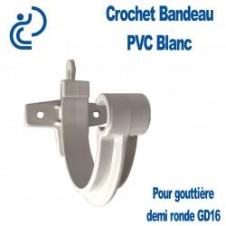 Crochet Bandeau PVC Blanc pour Gouttière Demi Ronde GD16