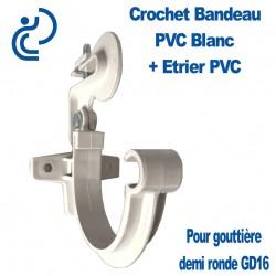 Crochet Bandeau + Etrier PVC Blanc pour Gouttière Demi Ronde GD16