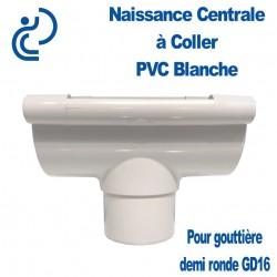 Naissance Centrale à Coller en PVC Blanc pour Gouttière Demi Ronde GD16