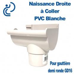 Naissance Droite à Coller en PVC Blanc pour Gouttière Demi Ronde GD16