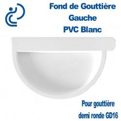 Fond de gouttière Gauche à Coller en PVC Blanc pour Gouttière Demi Ronde GD16