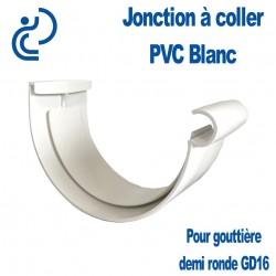 Jonction à Coller en PVC Blanc pour Gouttière Demi Ronde GD16
