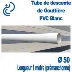 Tube Descente de Gouttière Ø50 en PVC BLANC longueur de 1ml (prémanchonné)