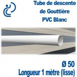 Tube Descente de Gouttière Ø50 en PVC BLANC longueur de 1ml (lisse)