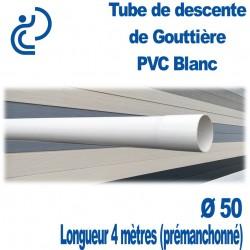 Tube Descente de Gouttière Ø50 en PVC BLANC longueur de 4 mètres (prémanchonné)