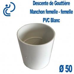 Manchon pour Descente de Gouttière Ø50 à Coller en PVC Blanc FF (femelle-femelle)