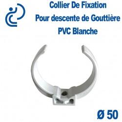 Collier pour Descente de Gouttière Ø50 à Coller en PVC Blanc