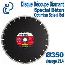 Disque Découpe Diamant Spécial Béton Optimisé Scie à Sol Ø350 al25.4