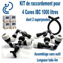 KIT de Jumelage pour 4 cuves 1000 litres IBC dont 2 superposées prêt à monter