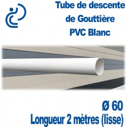 Tube Descente Gouttière PVC Ø60 Blanc en longueur de 2ml (lisse)