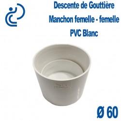 Manchon pour Descente de Gouttière PVC Blanc Ø60 Femelle-Femelle