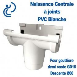 Naissance Centrale à Joints en PVC Blanc pour Gouttière Demi Ronde GD16 adaptation pour descente Ø60