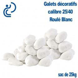 Galets Roulés Blancs 25/40 sac de 25kg