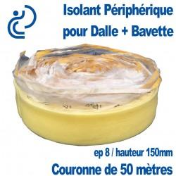 Isolant Périphérique Souple pour Dalle Béton + Bavette adhésive en couronne de 50 mètres