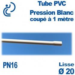 Tube PVC Pression Rigide blanc Ø20 PN16 ep1.5 coupé à 1 mètre Lisse