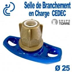Selle de Branchement en Charge CEDEC Pour Dérivation Fonte sur PEHD Ø25