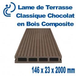 lame de terrasse bois composite classique Chocolat longueur 2mètres