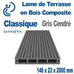 lame de terrasse bois composite classique Gris Cendré longueur 2mètres