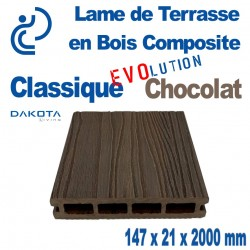Lame de Terrasse Bois Composite Classique Evolution Chocolat longueur 2 mètres