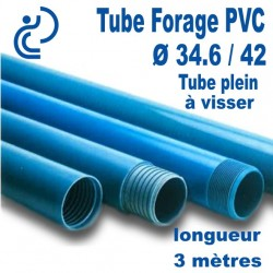 Tube Piézométrique PVC 34.6/42 Plein A visser longueur 3ml
