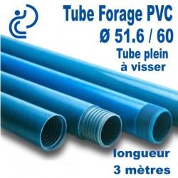 Tube Forage PVC 51.6/60 Plein A visser longueur 3ml