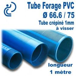 Tube Forage PVC 66.6/75 crépiné 1mm A visser longueur 1ml