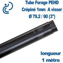 """Tube Forage PEHD 79.2x90 (3"""") Crépiné 1mm longueur de 1ml"""