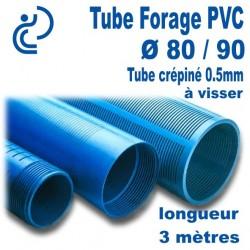 Tube Forage PVC 80/90 crépiné 0.5 A visser longueur 3ml