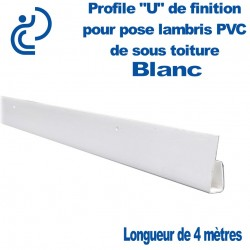 PROFILE DE FINITION U BLANC POUR LAMBRIS longueur de 4ml