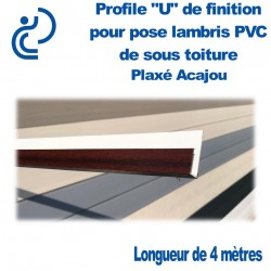 PROFILE DE FINITION U ACAJOU POUR LAMBRIS longueur de 4ml